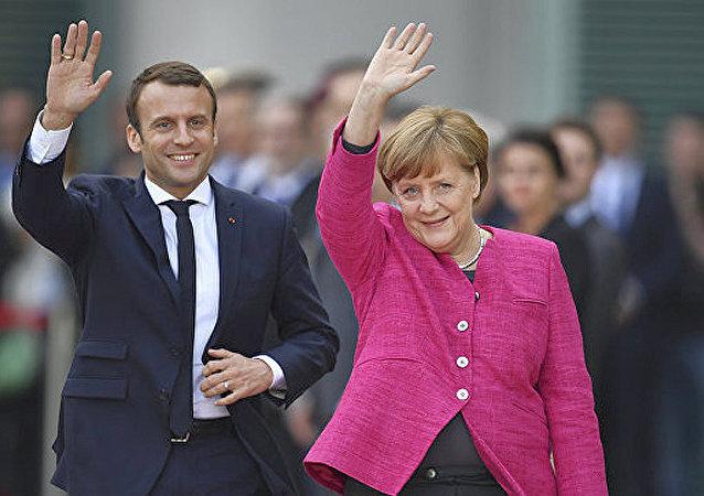 德國總理默克爾與法國總統馬克龍