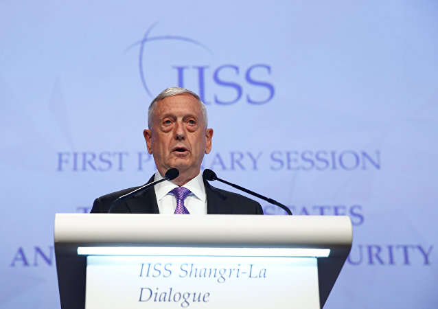 U.S. Secretary of Defense James Mattis speaks at the 16th IISS Shangri-La Dialogue
