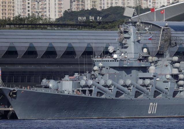 """俄太平洋舰队的""""瓦良格""""号导弹巡洋舰"""