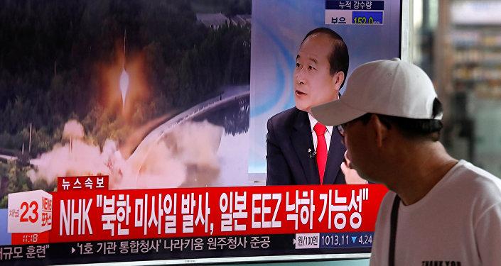朝鲜中央电视台称,朝鲜宣布成功试验洲际弹道导弹