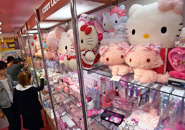 Hello Kitty dolls are overcrowdedly displayed on a shelf at a toy store in Tokyo