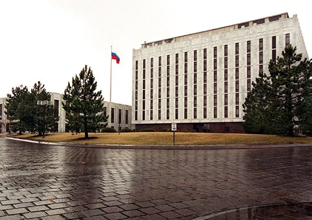 The Russian flag flies at the embassy compound in Washington, DC