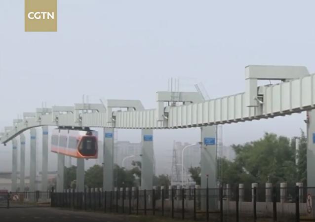 中國最快的懸掛式列車開始在青島試運行