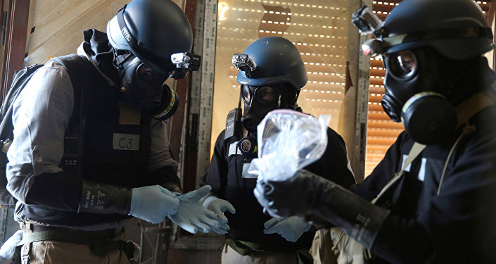 UN chemical weapons expert holds a plastic bag containing samples from one of the sites of an alleged chemical weapons attack in Ain Tarma