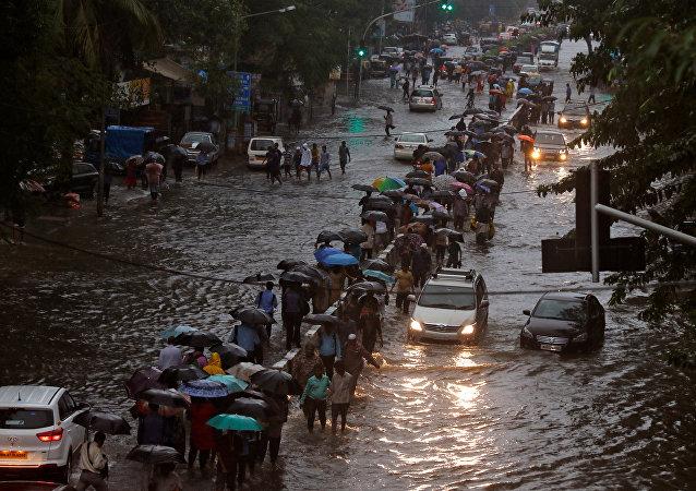 印度孟買暴雨