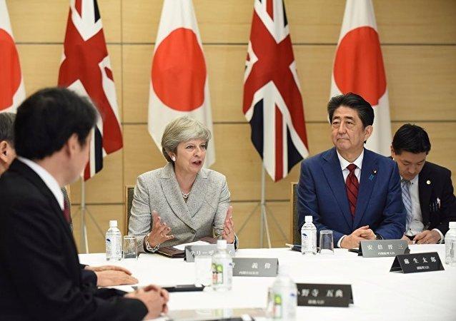 日本首相安倍晋三与英国首相特雷莎
