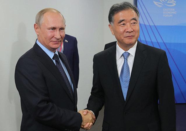 俄羅斯總統普京與中國國務院副總理汪洋