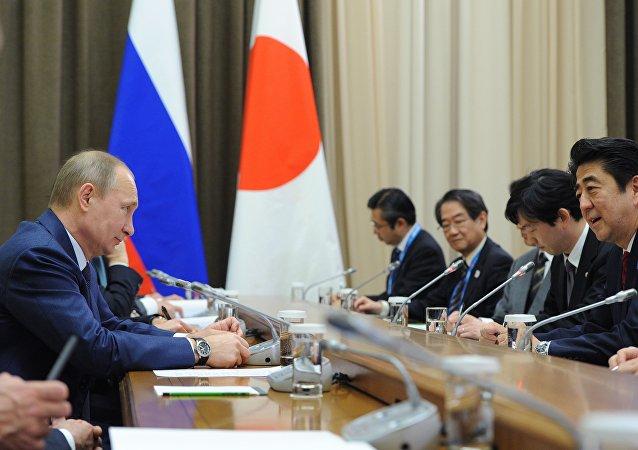 Vladimir Putin meets with Shinzo Abe