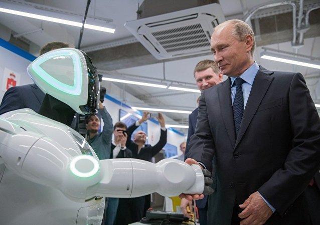 普京与逃跑机器人见面