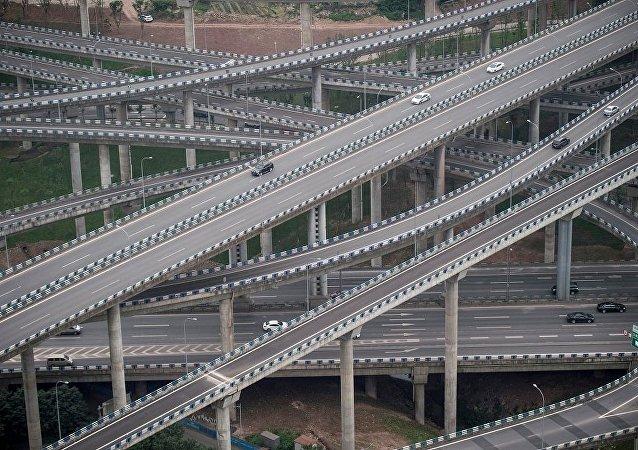 motorists driving on an interchange in Chongqing