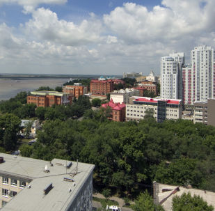 Вид на реку Амур и город Хабаровск