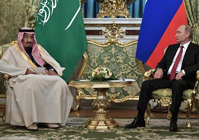 俄總統普京與沙特阿拉伯國王薩勒曼•本•阿卜杜勒阿齊茲•阿勒沙特