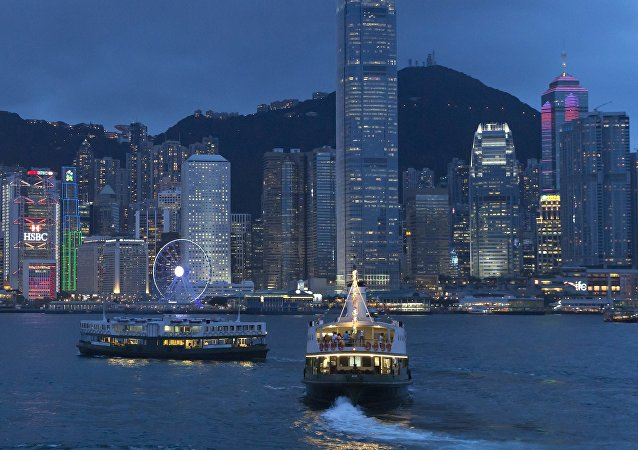 A general view of Victoria Peak and Central district over Victoria Harbor, in Hong Kong