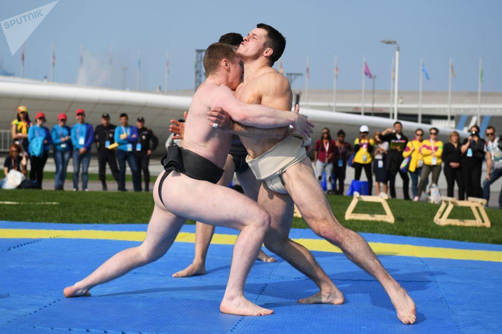 在索契舉行的第19屆世界青年大學生聯歡節上的示範性體育表演的參與者們