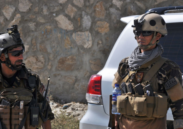 阿富汗特种部门人员在喀布尔机场附近