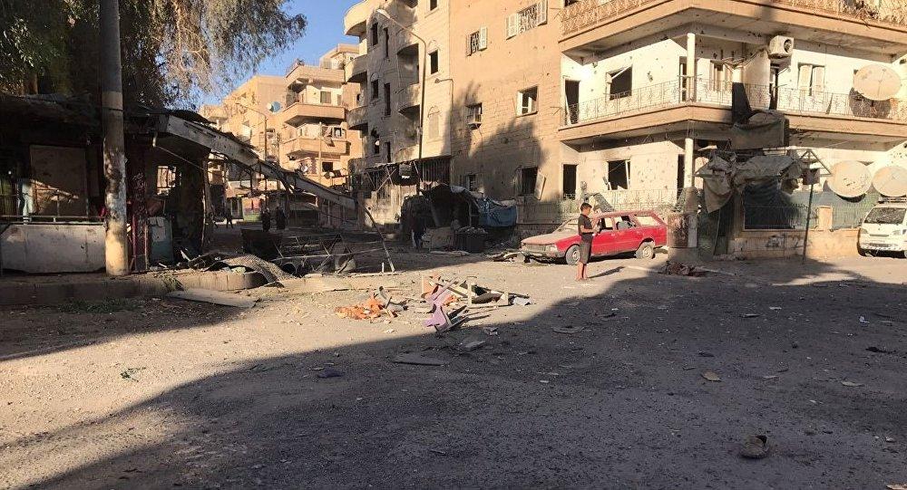 以美國為首的國際聯軍在敘代爾祖爾省蘇薩鎮對平民住宅進行空襲