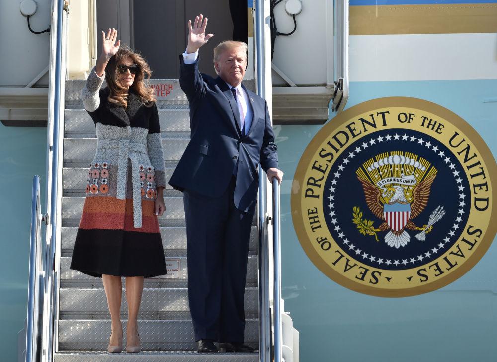 美国总统唐纳德·特朗普和夫人梅拉尼娅在日本