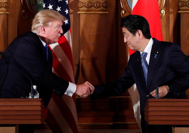 Президентом США Дональд Трамп и японский премьер-министр Синдзо Абэ на совместной пресс-конференции в Токио