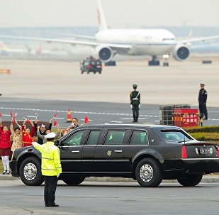 特朗普访华期间座驾挂上中国车牌