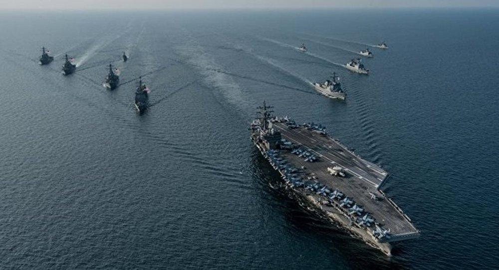 美國發演習視頻:三艘美航母出現在韓國海岸
