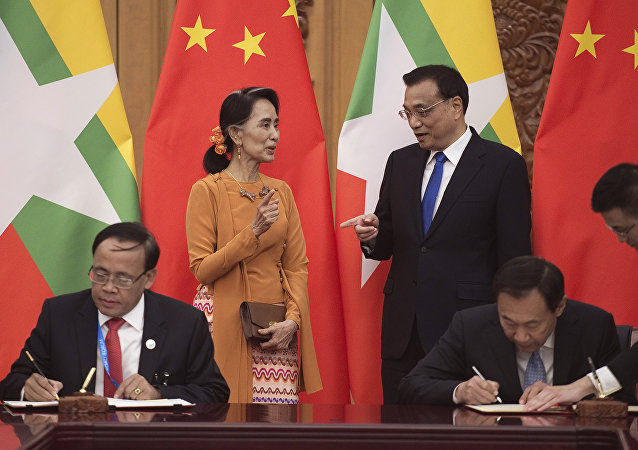 中國外長王毅會見緬甸國務資政兼外交部長昂山素季 (資料圖片)