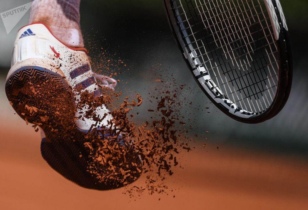 諾瓦克·德約科維奇(塞爾維亞)在法國網球公開賽男子單打比賽中