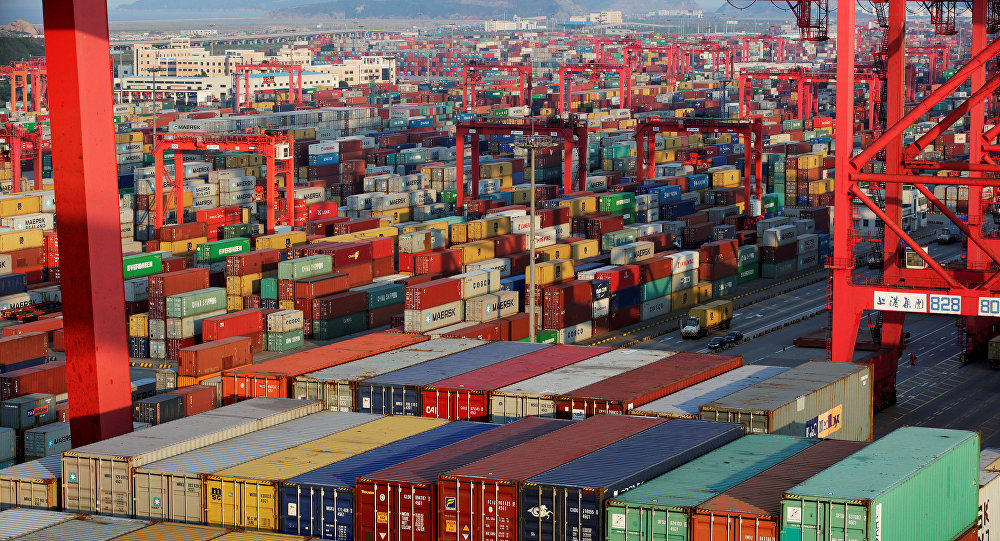 Container boxes are seen at the Yangshan Deep Water Port, part of the Shanghai Free Trade Zone
