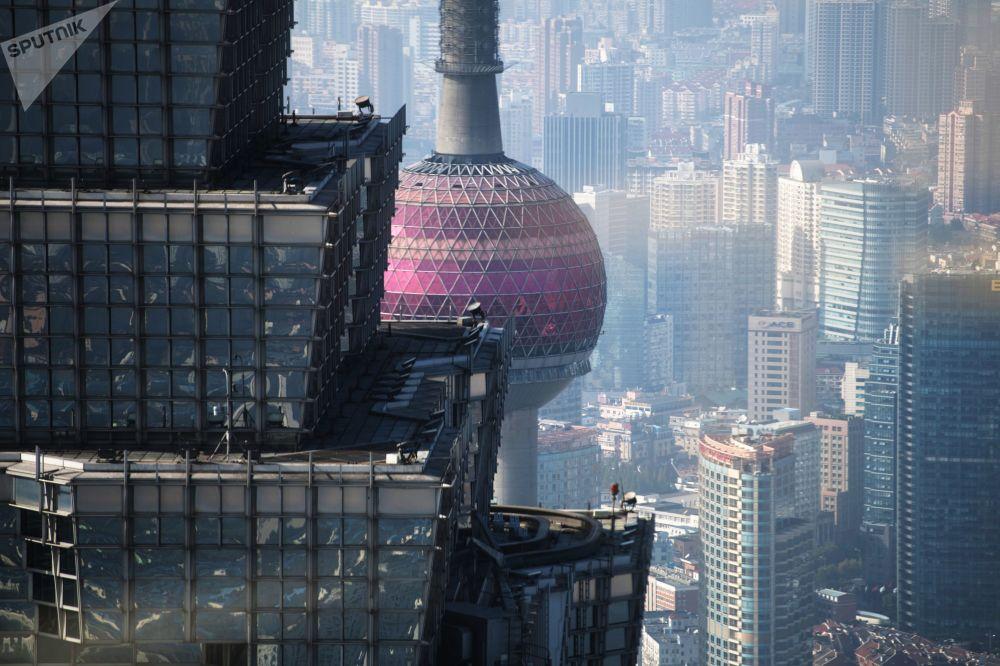 """上海""""东方之珠""""电视塔与金茂大厦"""