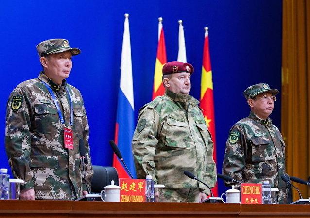 俄国民近卫军与中国武警开始联合演习的积极阶段