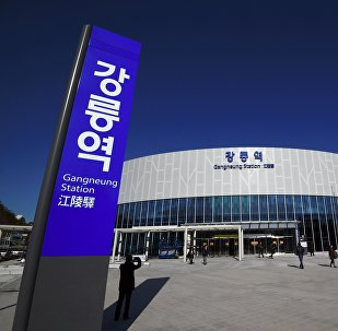 The Gangneung station is seen during a press tour of the new train line for the upcoming 2018 PyeongChang Winter Olympics