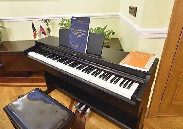 普京送给俄乌德穆尔特女中学生一架电子钢琴