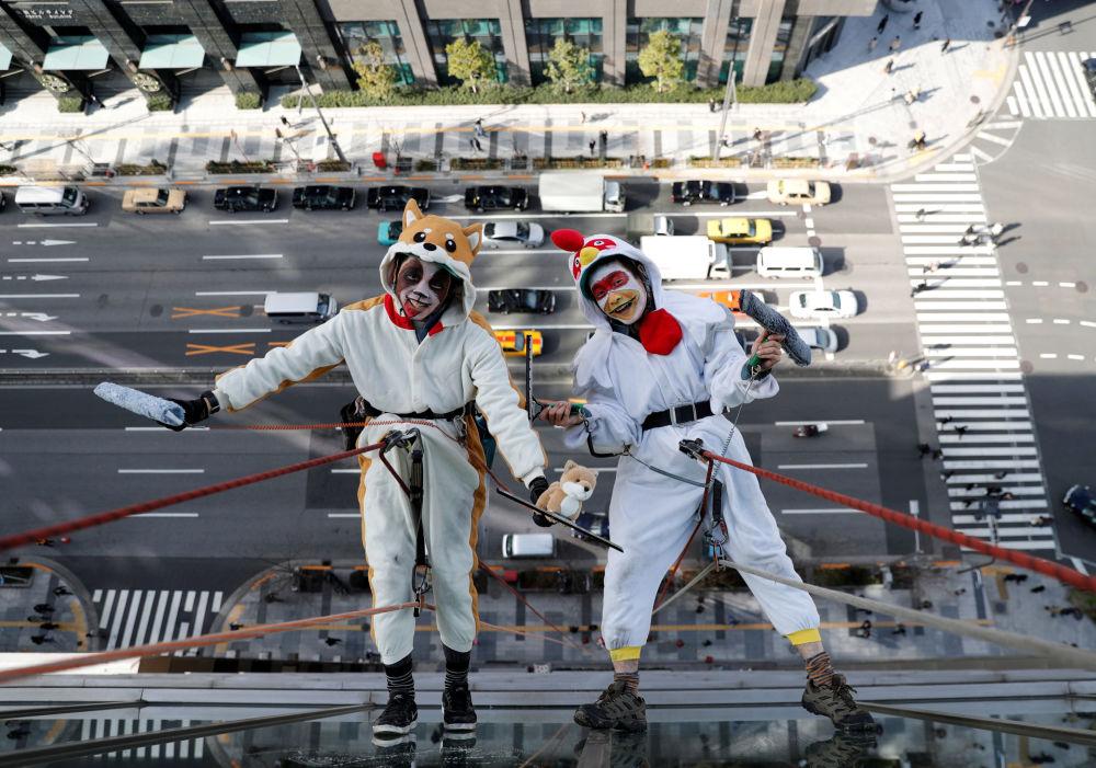 日本东京,身穿象征2017年和2018年鸡年和狗年衣服的窗户清洁工们。