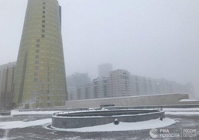 哈薩克斯坦首都遭遇暴風雪