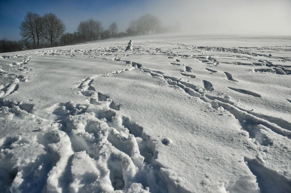 西班牙北部雪地上的雪人