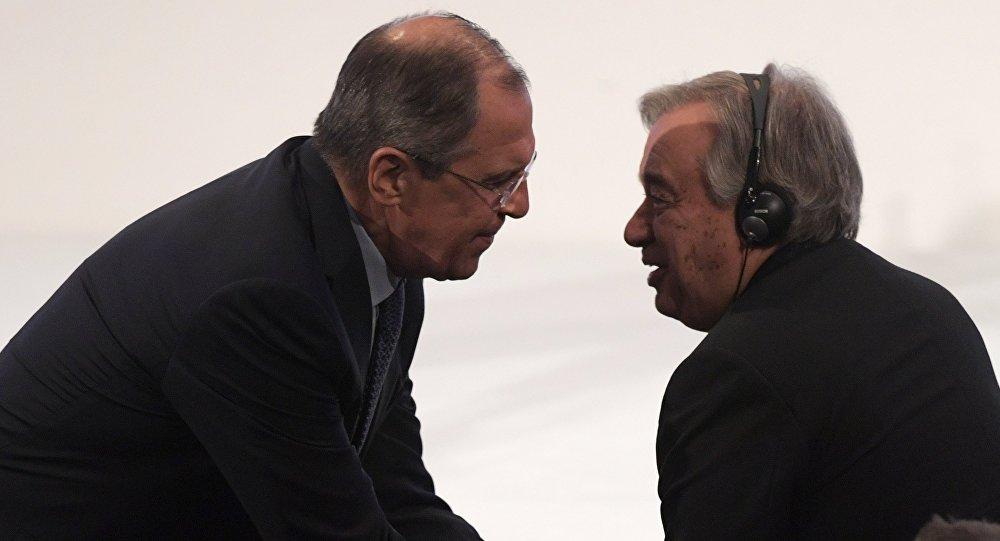 俄罗斯外长拉夫罗夫与联合国秘书长古特雷斯