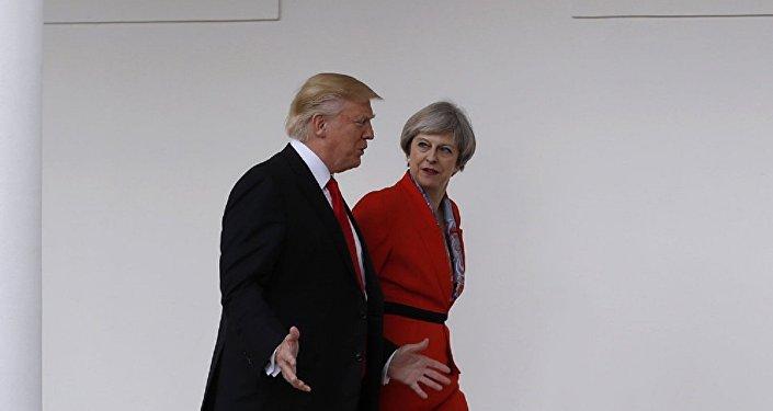 美国总统特朗普与英国首相特蕾莎·梅