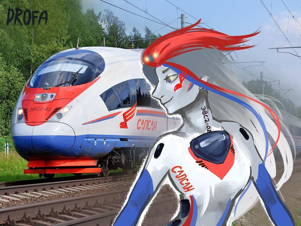"""索菲亚的作品,如高速列车、地铁车厢和电气火车都像人一样。  (图为""""游隼号""""高速列车)"""