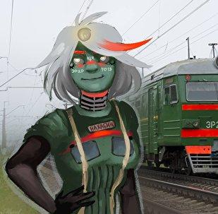 18歲的俄羅斯畫家索菲亞·斯捷帕年科(筆名Drofa)以時下流行的擬人化畫法而遠近聞名。 (圖為市郊電氣火車)