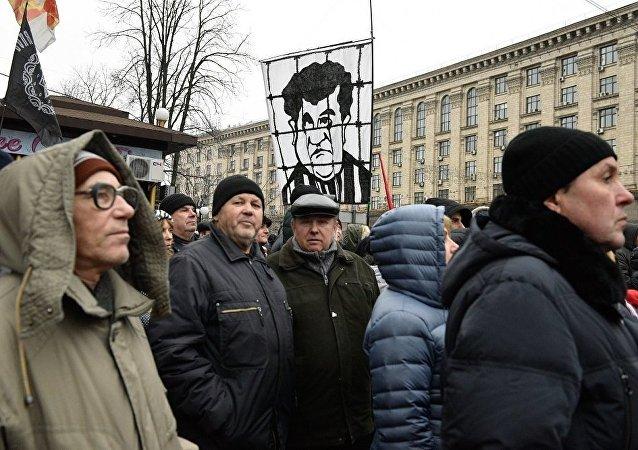 米哈伊爾·薩卡什維利在基輔市中心組織進行彈劾波羅申科的遊行