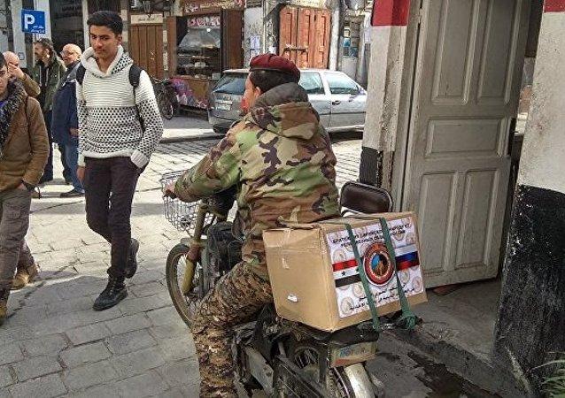 大马士革市中心两处发放俄罗斯人道援助物资的站点遭到迫击炮袭击