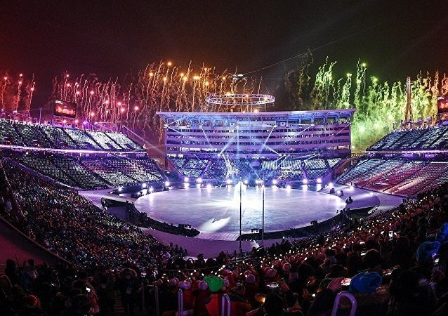 一名美國公民在冬奧會開幕式看台上展開俄羅斯國旗