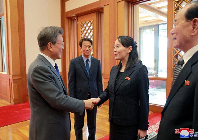 朝鮮代表團與韓國總統的會談