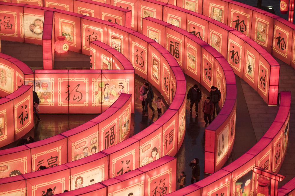 中國農歷新年到來之際,西安大唐芙蓉園裡的迷宮