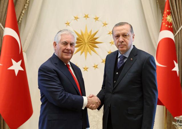 美國國務卿蒂勒森與土耳其總統埃爾多安