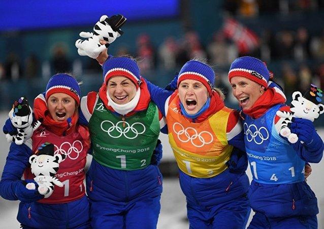 俄羅斯滑雪運動員在平昌冬奧會上獲得銅牌