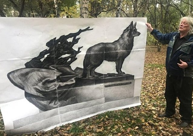 在阿穆爾河畔共青城將竪起一座等待主人12年的忠犬雕像