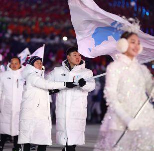 平昌冬奥会闭幕式上的运动员入场式结束