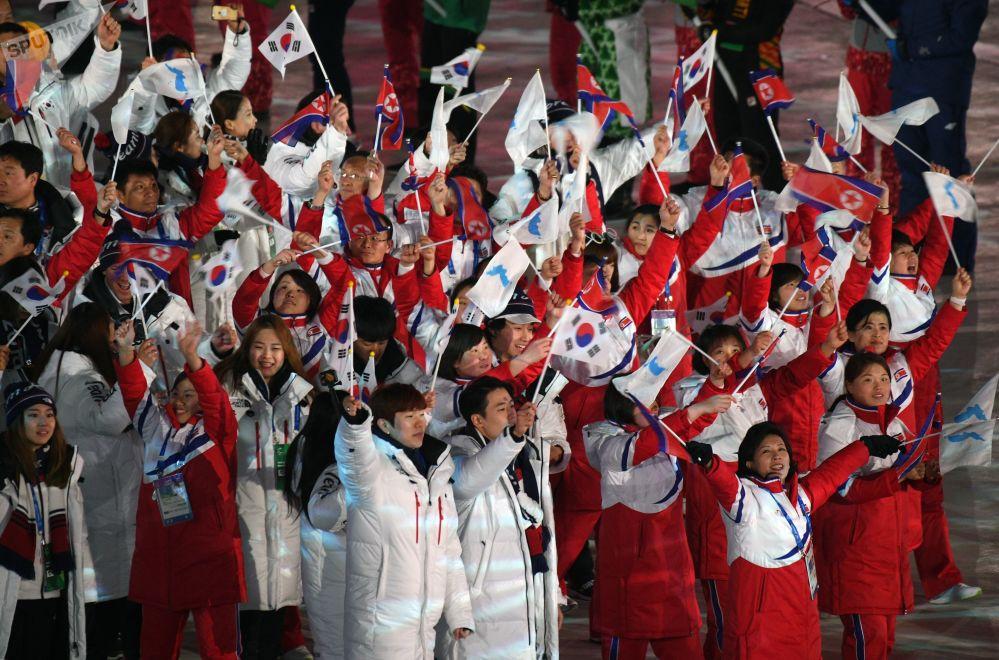 朝韩两国代表团联合入场