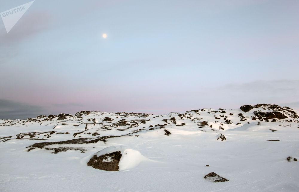 科拉半岛捷里别尔斯卡娅湾的石质海岸