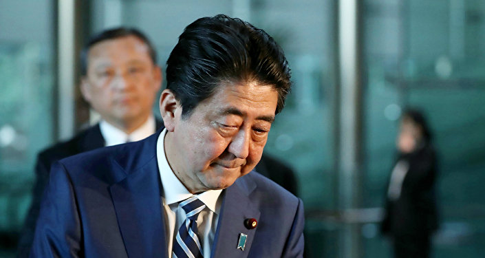 Japan's Prime Minister Shinzo Abe appears before journalists at his office in Tokyo